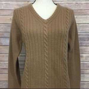 Eddie Bauer Cable Knit Lambswool Tan Sweater PS
